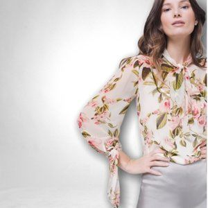 WHBM Floral Tie-Neck Blouse